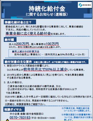 【新型コロナウイルス関連施策制度】持続化給付金に関するお知らせ